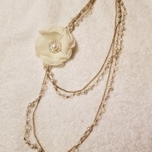 Multi-Strand Faux Pearl Flower Sparkly Necklace